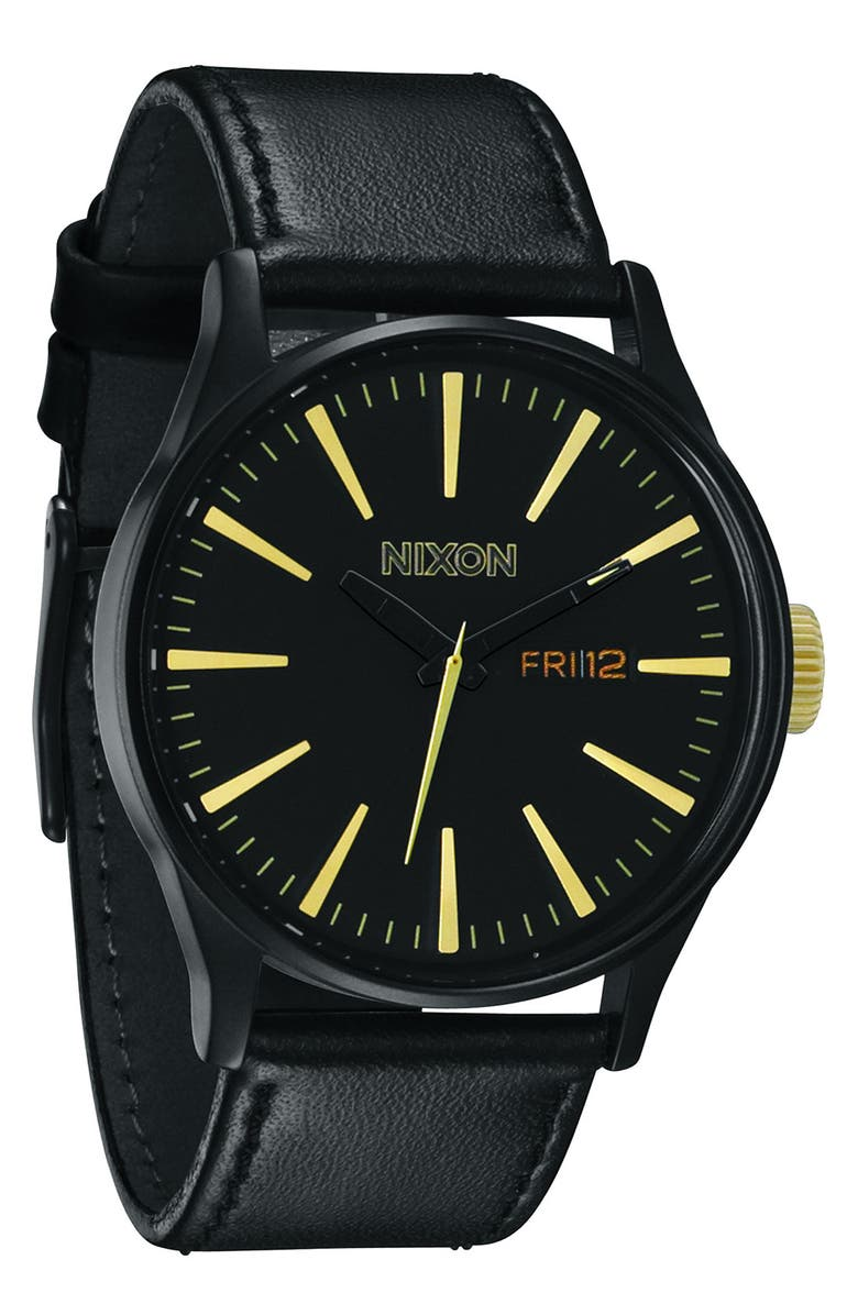 NIXON The Sentry Leather Strap Watch, 42mm, Main, color, 001