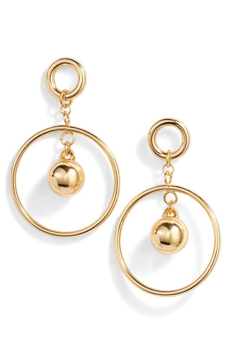 3db4bed09 Ball & Hoop Drop Earrings, Main, color, GOLD