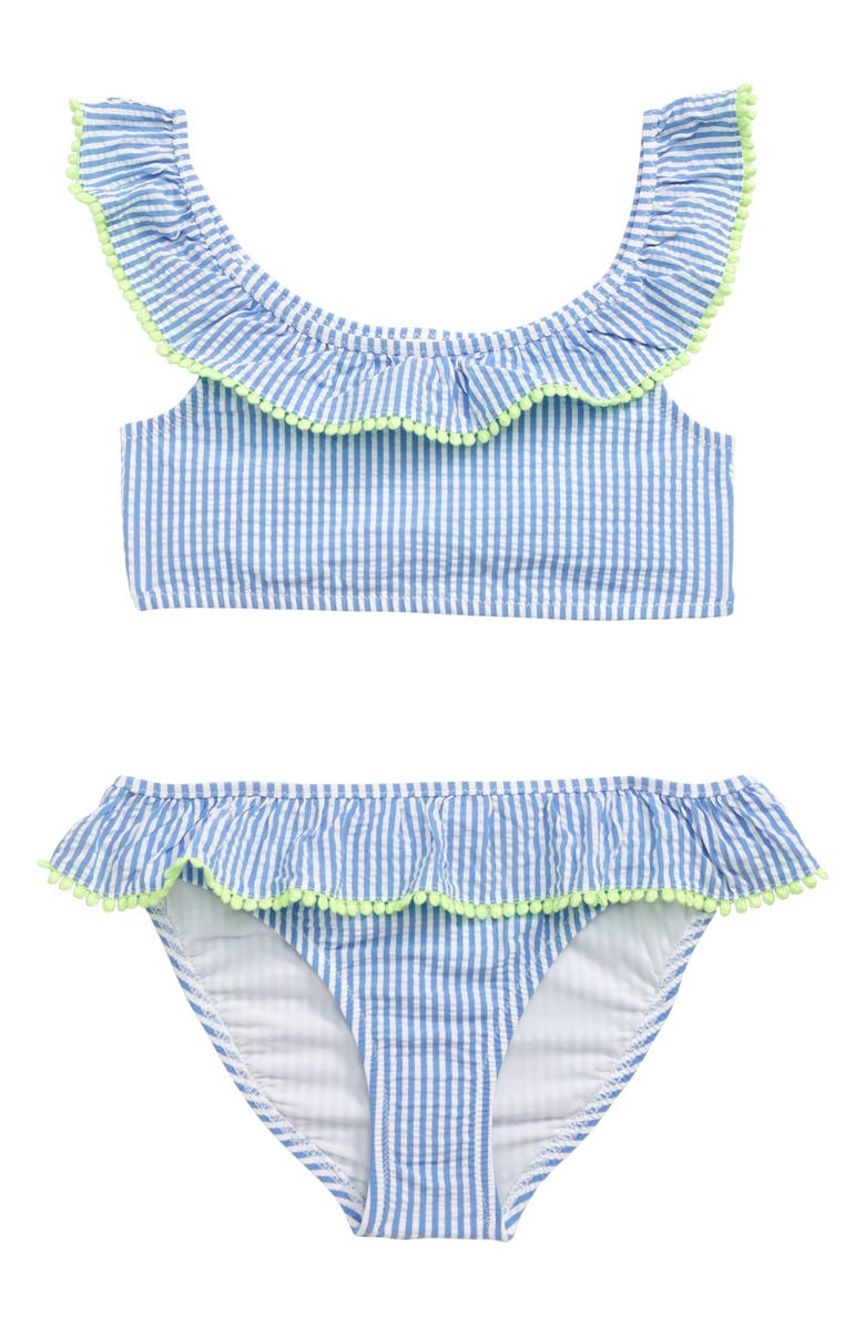 CREWCUTS BY J.CREW Ruffle Seersucker Two-Piece Swimsuit, Main, color, 400