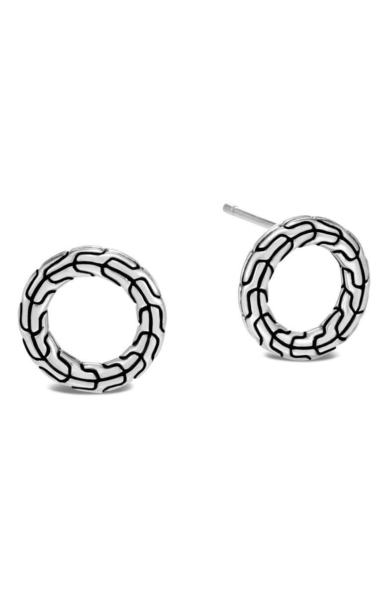 JOHN HARDY Classic Chain Sterling Silver Round Earrings, Main, color, SILVER