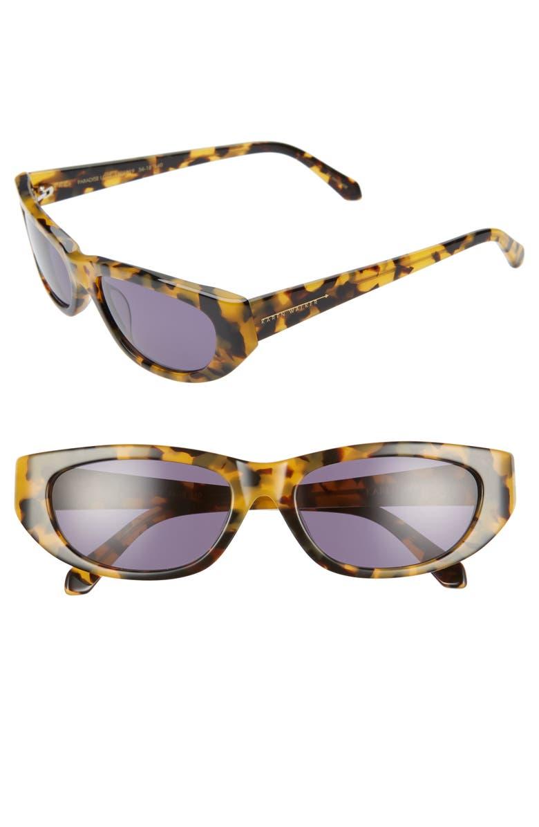 KAREN WALKER 56mm Oval Cat Eye Sunglasses, Main, color, CRAZY TORTOISE/ SMOKE