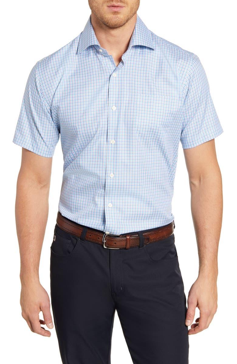 PETER MILLAR Richards Regular Fit Plaid Short Sleeve Button-Up Shirt, Main, color, 486