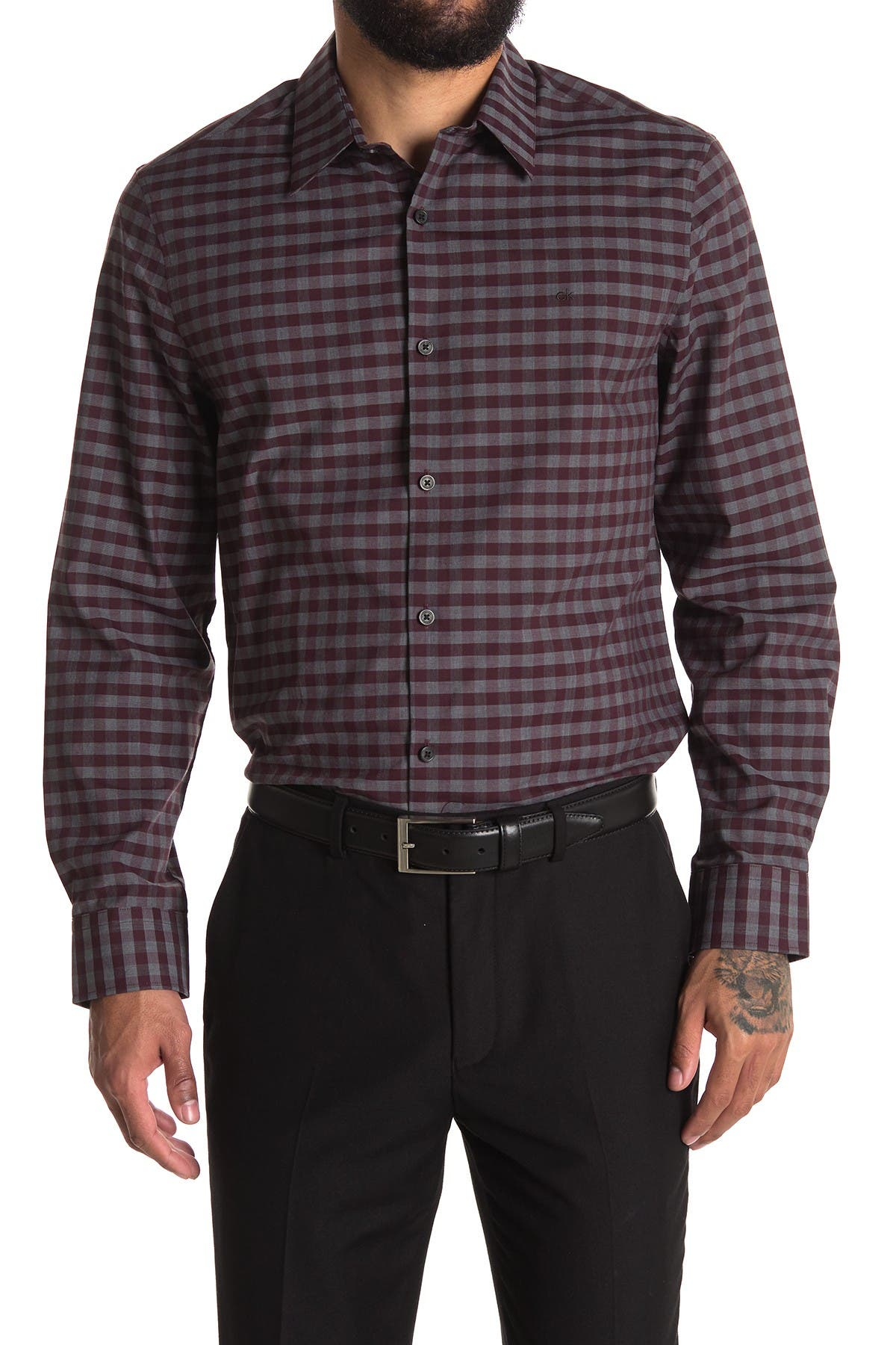 Image of Calvin Klein Stretch Mini Buffalo Plaid Shirt