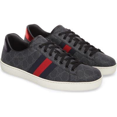 Gucci New Ace Webbed Low Top Sneaker - Black