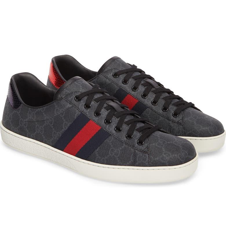GUCCI New Ace GG Supreme Low Top Sneaker, Main, color, BLACK GG SUPREME