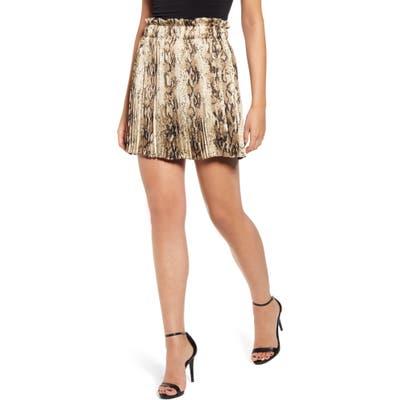 Endless Rose Snake Print Pleated Miniskirt, Beige
