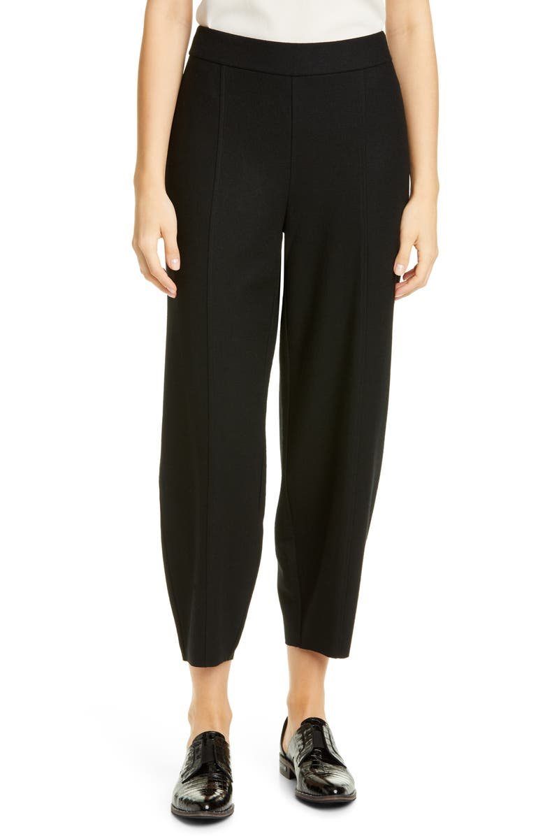EILEEN FISHER Wool Lantern Pants, Main, color, BLACK