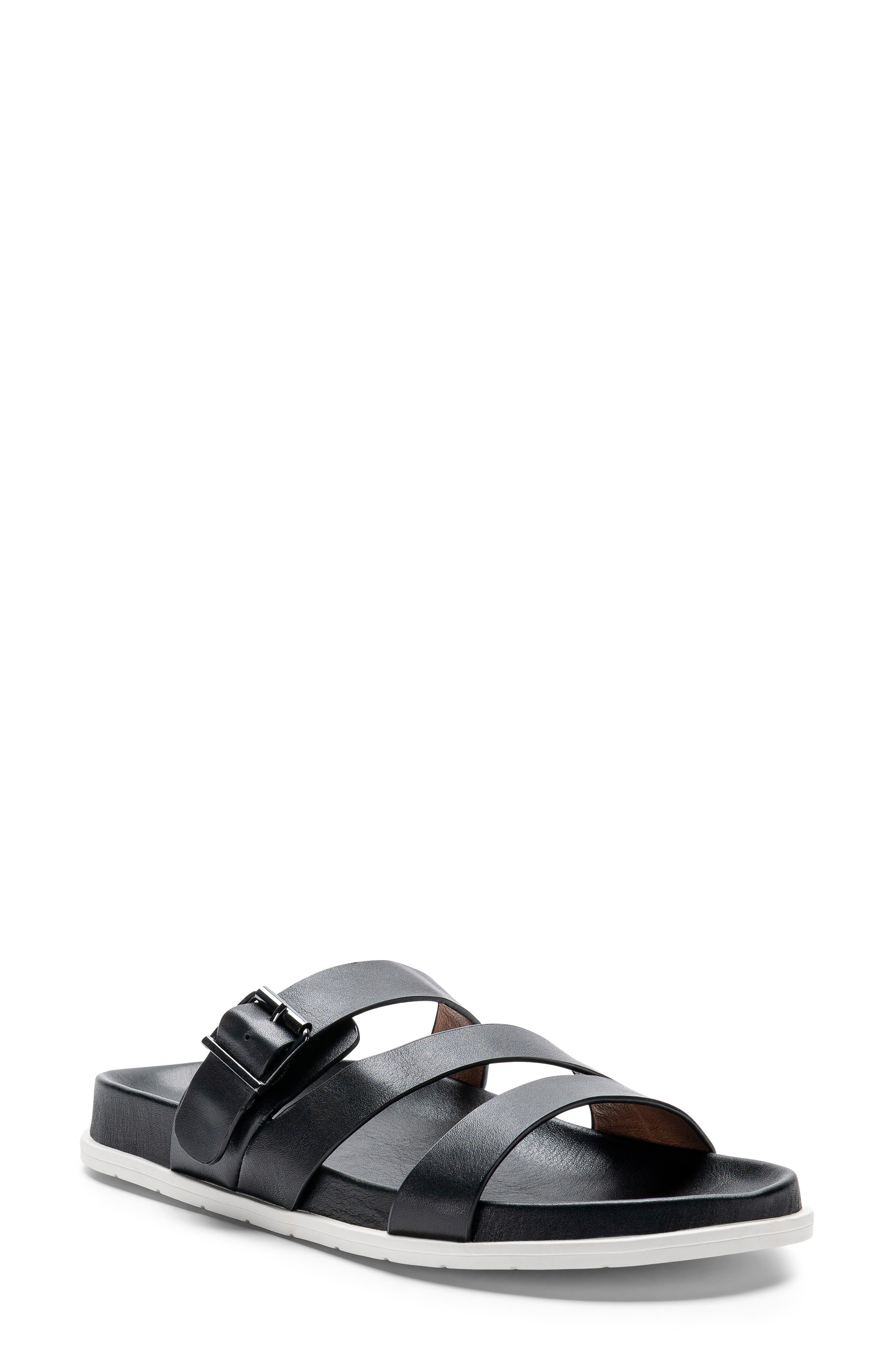 ,                             Selma Waterproof Slide Sandal,                             Main thumbnail 1, color,                             BLACK LEATHER