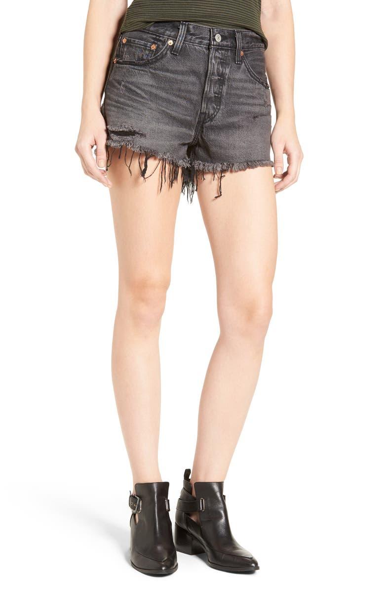 LEVI'S<SUP>®</SUP> 501<sup>®</sup> Cutoff Denim Shorts, Main, color, 001