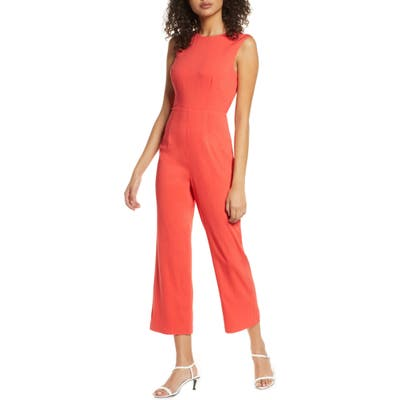 Ali & Jay The Riviera Tie Back Crop Jumpsuit, Coral
