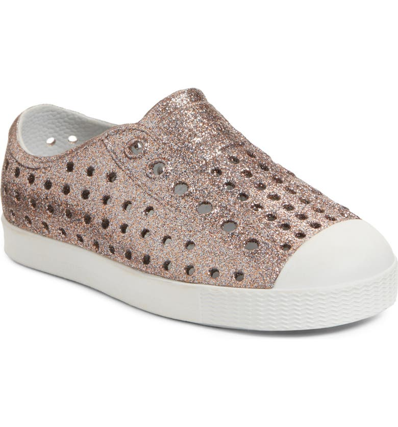 NATIVE SHOES Jefferson Bling Glitter Slip-On Vegan Sneaker, Main, color, METALLIC BLING/ SHELL WHITE