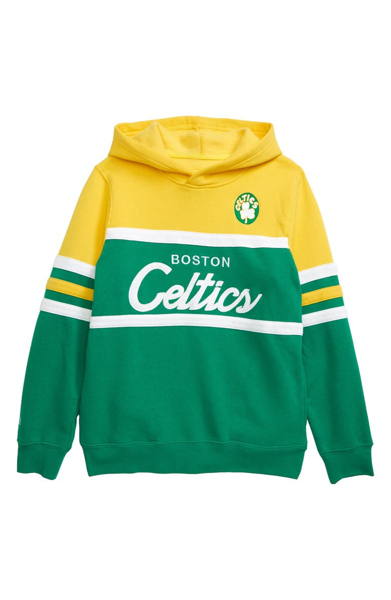 MITCHELL & NESS Boston Celtics Coach Hoodie, Main, color, YELLOW/ GREEN