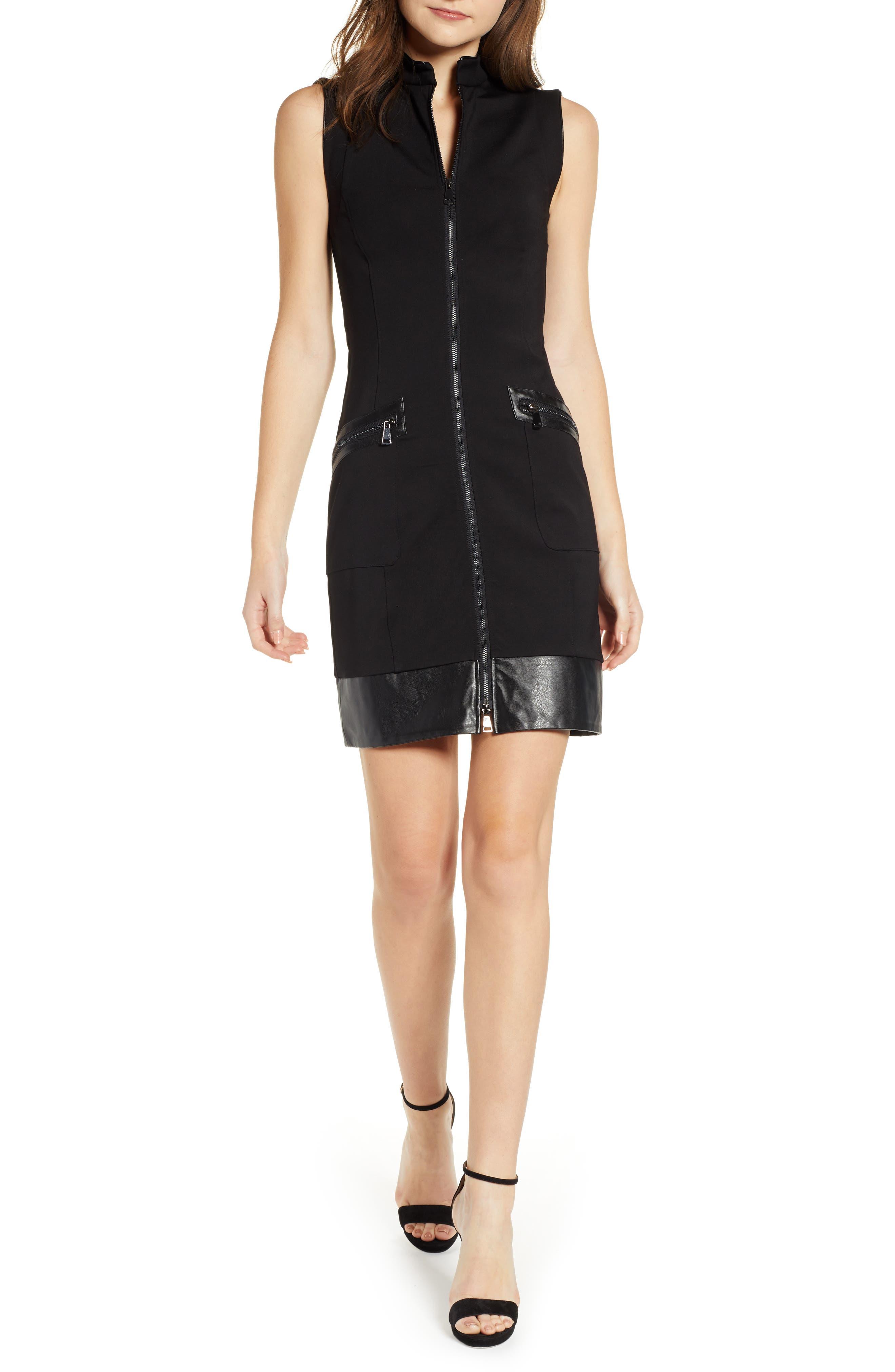 Sentimental Ny Ponte & Faux Leather Dress, Black
