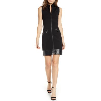 Sentimental Ny Ponte & Faux Leather Dress, Black