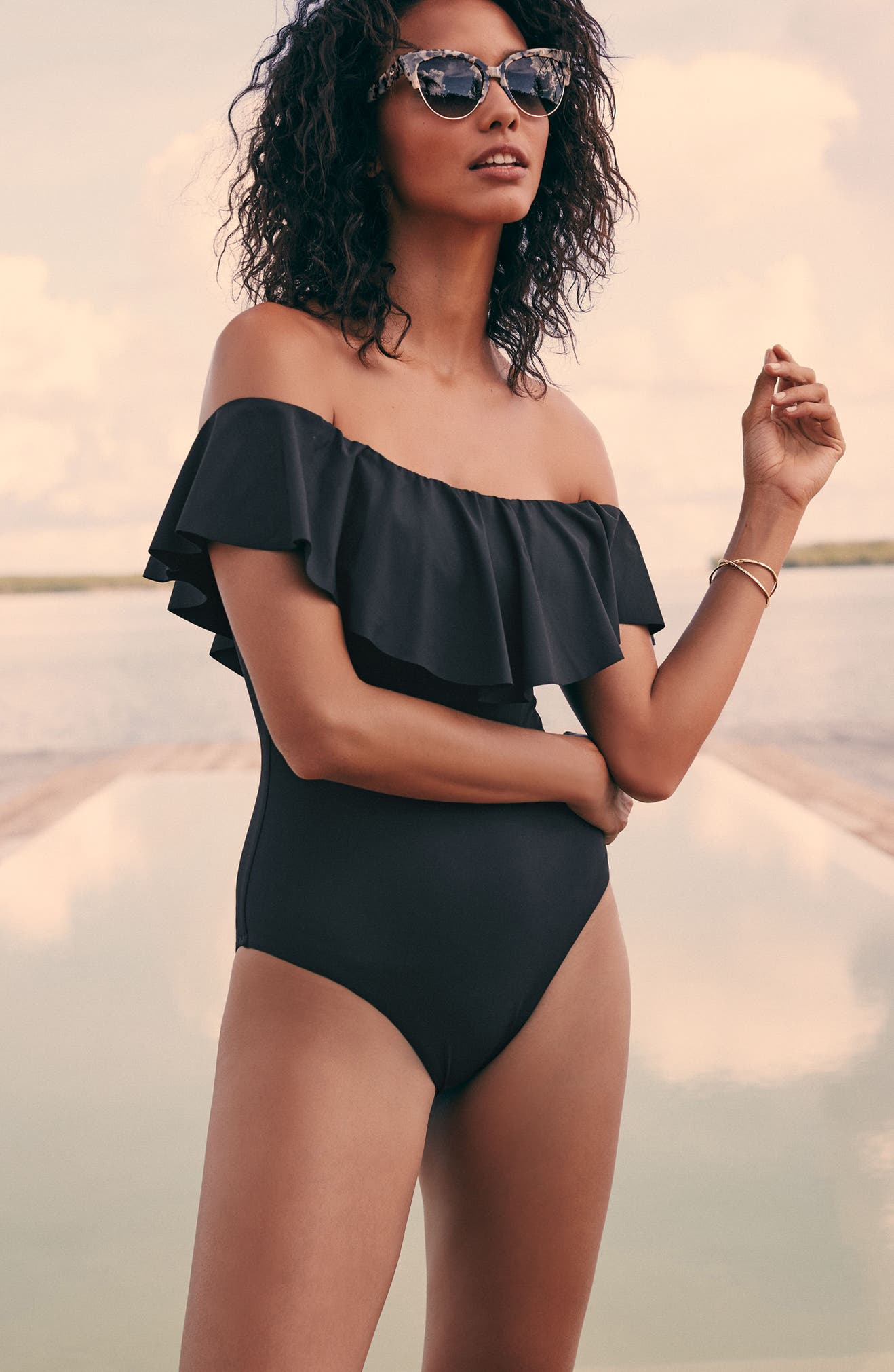 6e95cab6b84fc Trina Turk Off the Shoulder One-Piece Swimsuit   Nordstrom