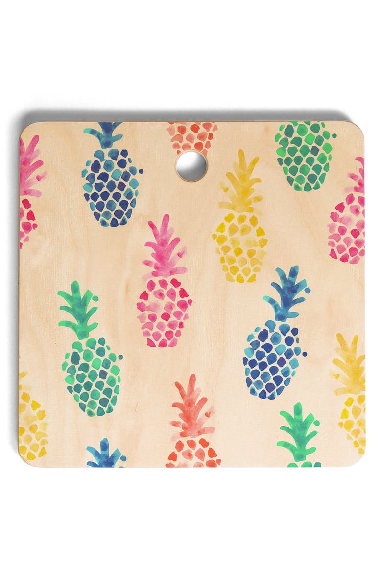 DENY DESIGNS Dash and Ash Pineapple Cutting Board, Main, color, PINK