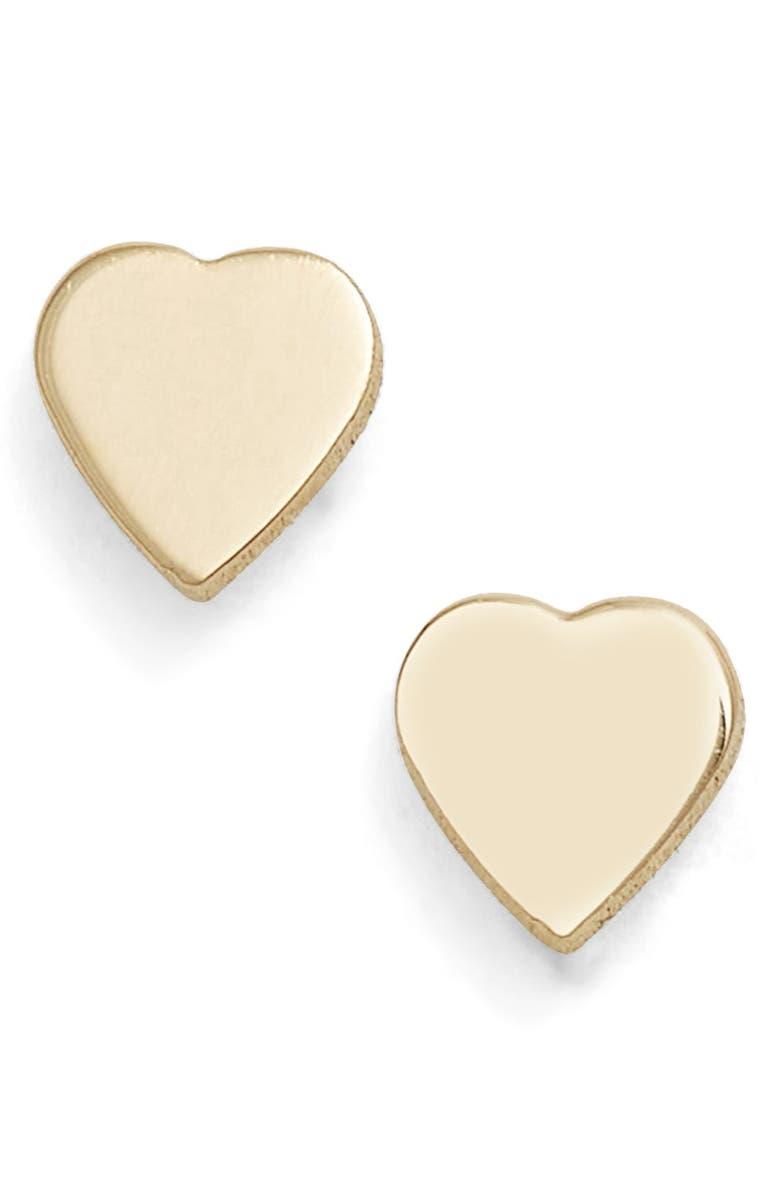 POPPY FINCH Mini Sweetheart Stud Earrings, Main, color, YELLOW GOLD