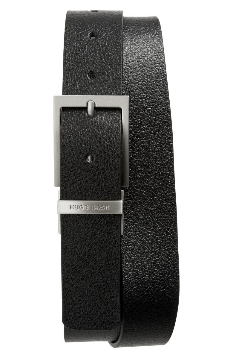 BOSS Reming Reversible Leather Belt, Main, color, 001