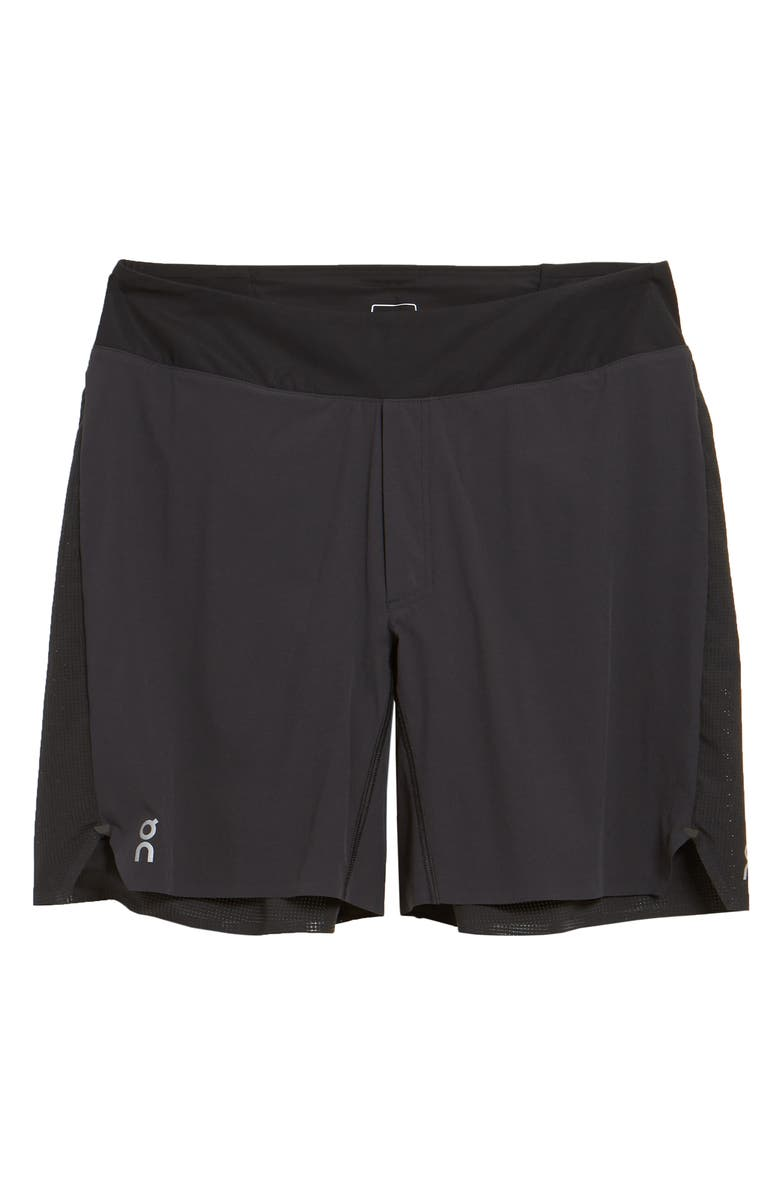 ON Lightweight Perforated Running Shorts, Main, color, BLACK