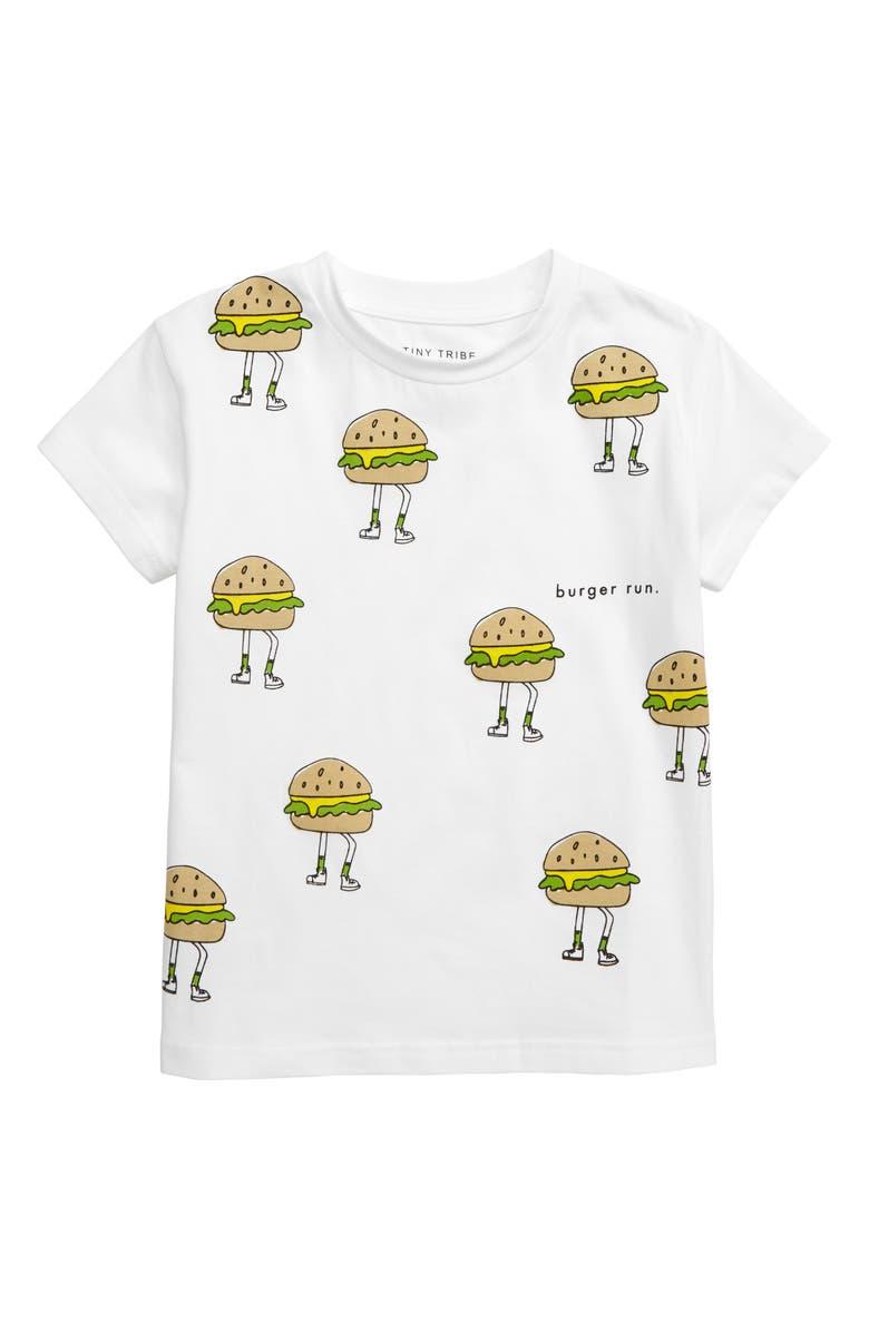 TINY TRIBE Burger Run T-Shirt, Main, color, 100