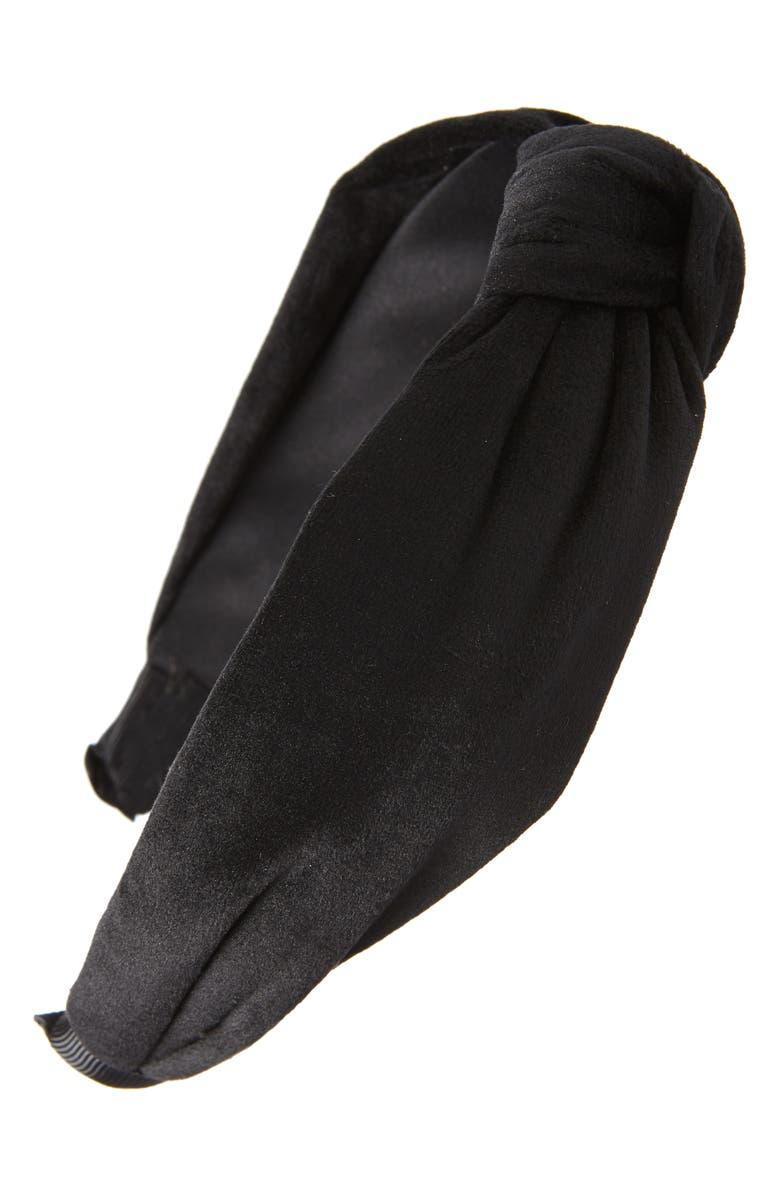TASHA Knot Velvet Headband, Main, color, BLACK