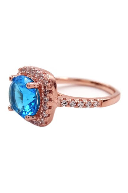 Image of Savvy Cie 18K Rose Gold Vermeil Cushion-Cut Blue Topaz Halo Ring