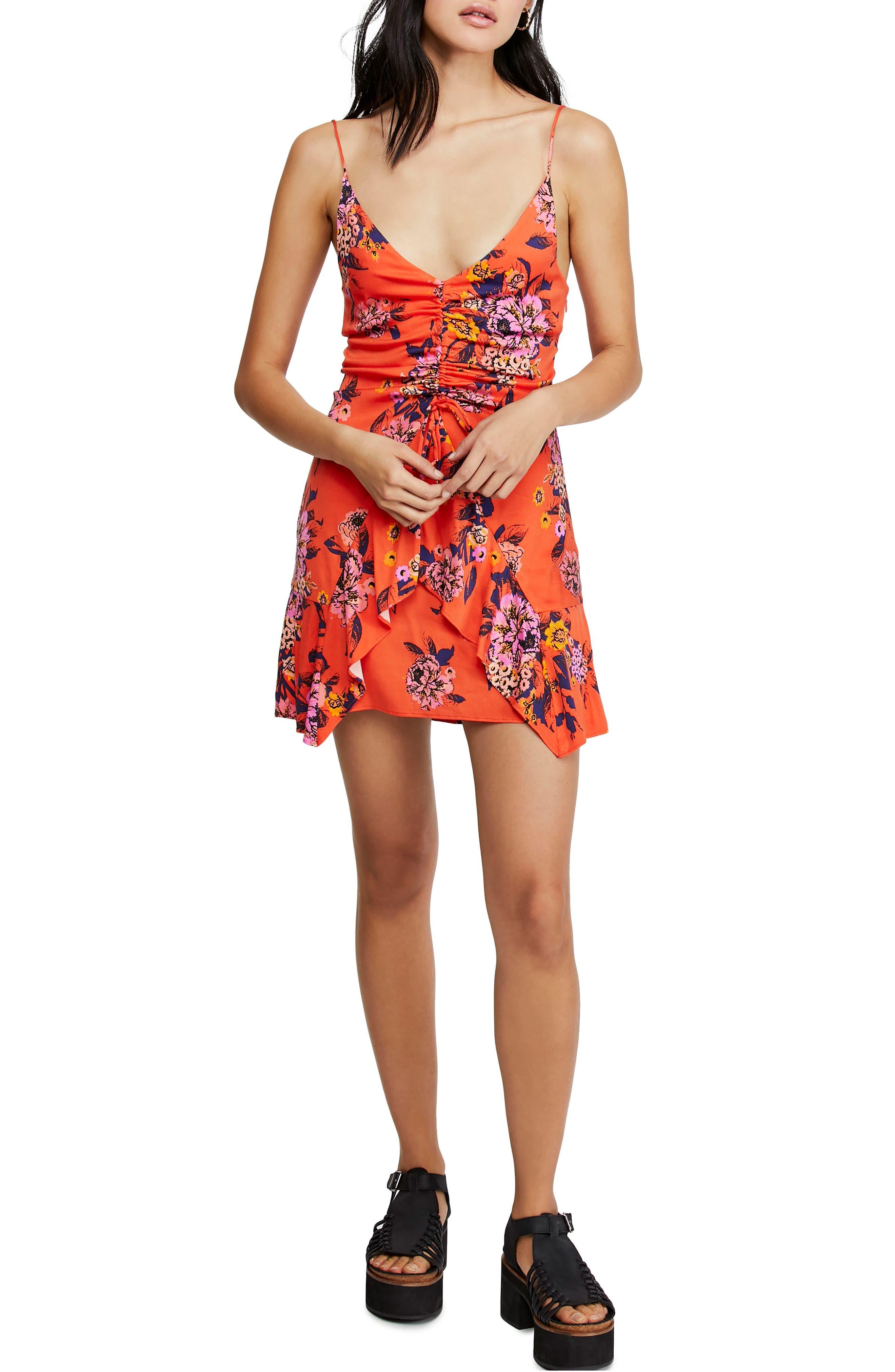 Free People Happy Heart Minidress, Orange