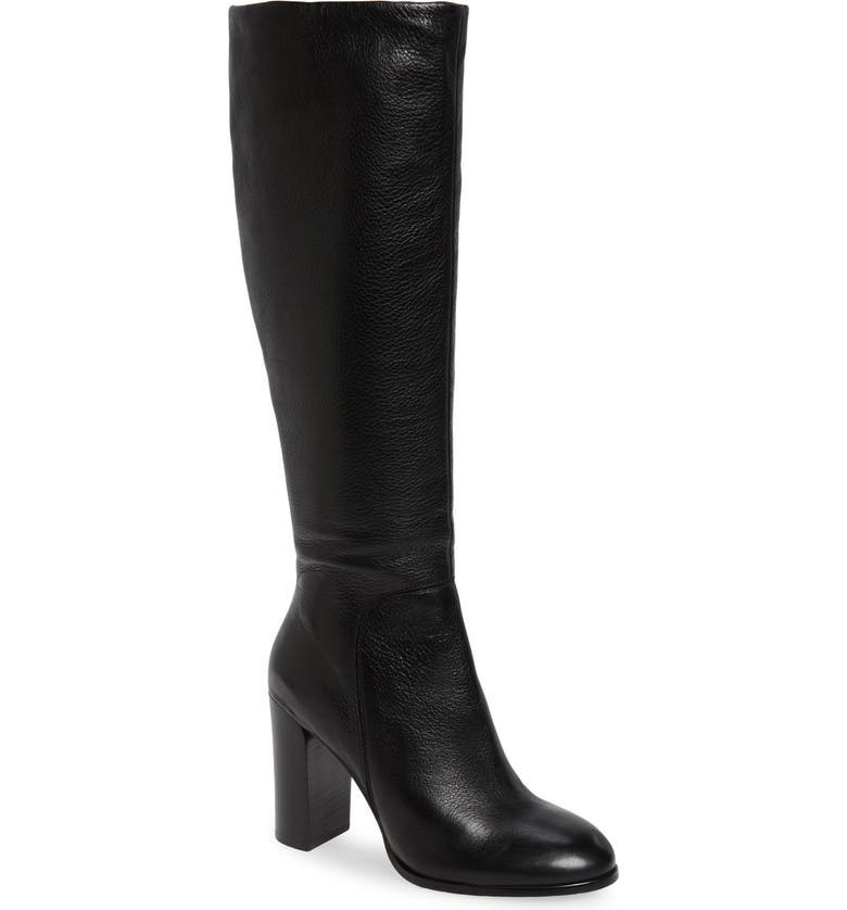 KENNETH COLE NEW YORK Justin Water Resistant Knee High Boot, Main, color, BLACK LEATHER