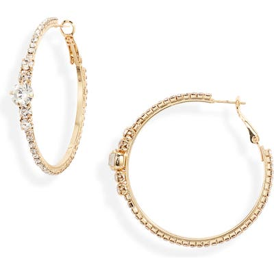 Ettika Crystal Embellished Hoop Earrings