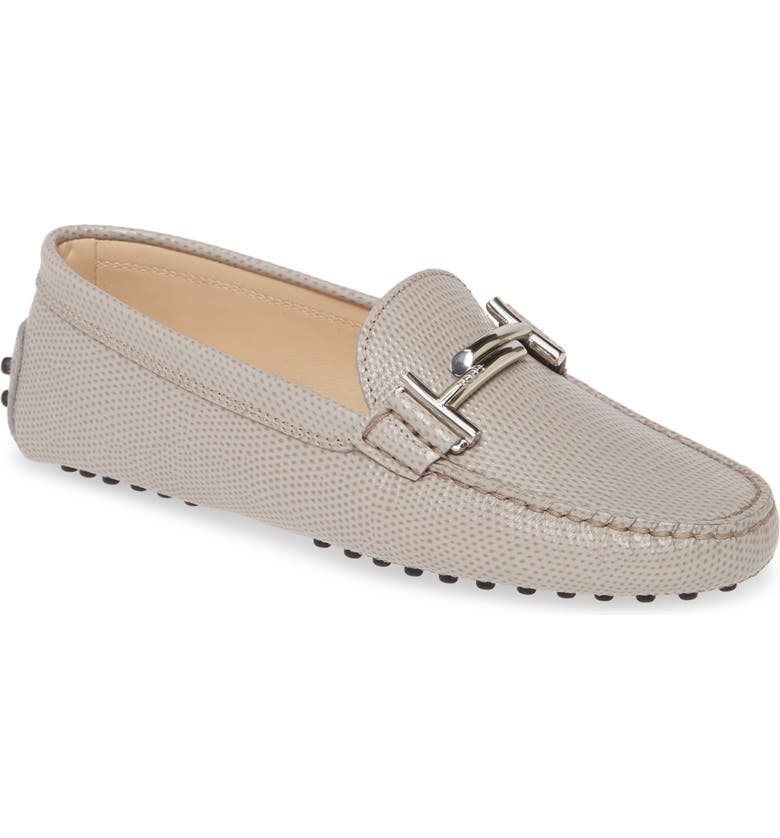 TOD'S Reptile Embossed Driving Moccasin, Main, color, GRIGIO VAPORE