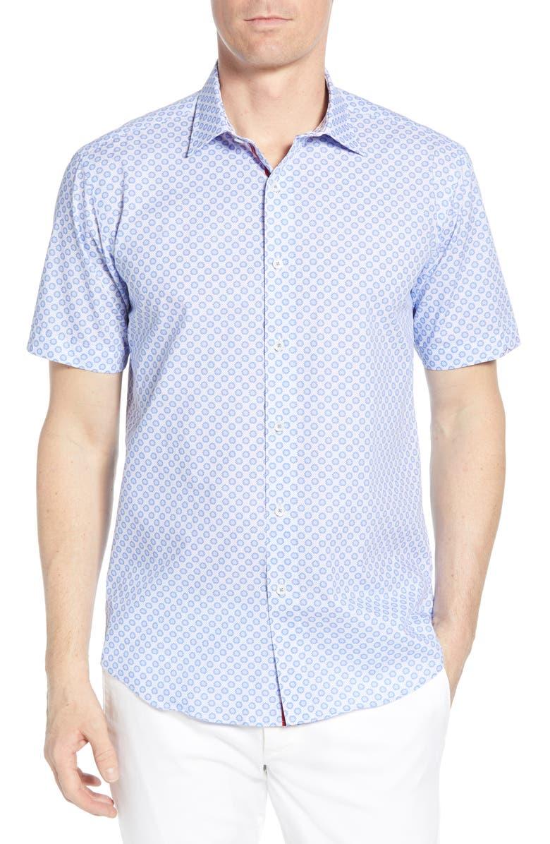 BUGATCHI Shaped Fit Linen Shirt, Main, color, CLASSIC BLUE