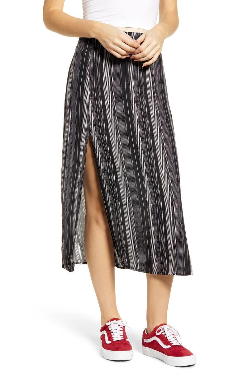GOOD LUCK GEM Slit Front Midi Skirt, Main, color, BLACK STRIPE
