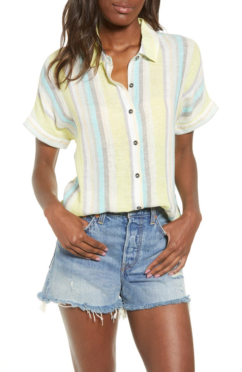SPLENDID Canyon Button Front Shirt, Main, color, SEA SPRAY MULTI