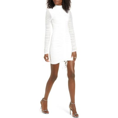 Tiger Mist Cologne Long Sleeve Body-Con Dress, White