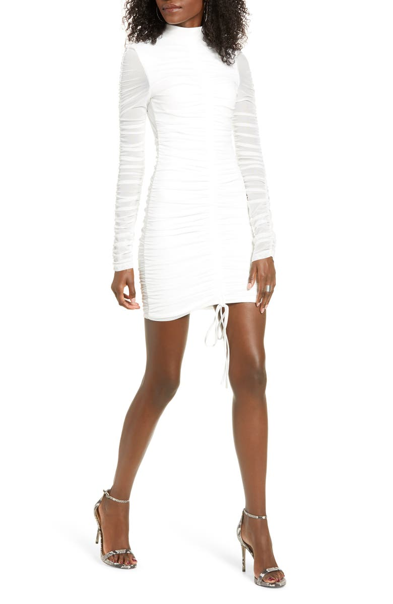 TIGER MIST Cologne Long Sleeve Body-Con Dress, Main, color, WHITE