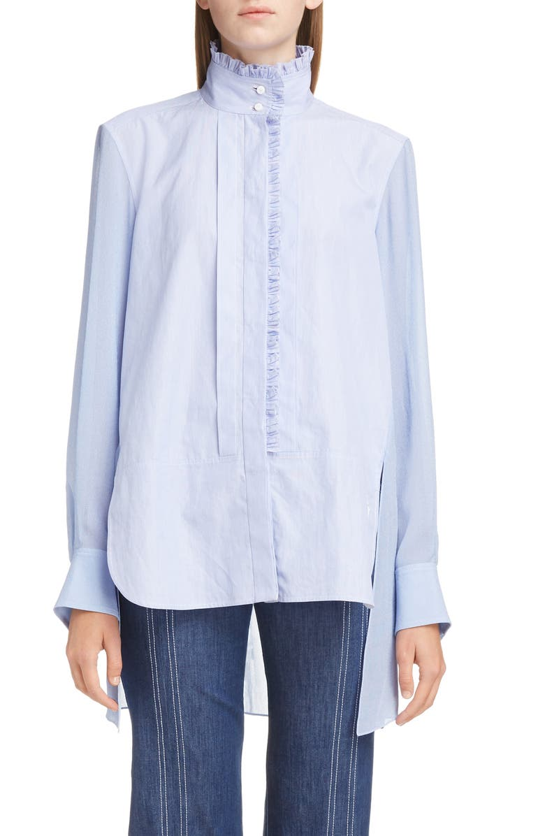 CHLOÉ Ruffle Trim High/Low Poplin Shirt, Main, color, LAVENDER BLUE