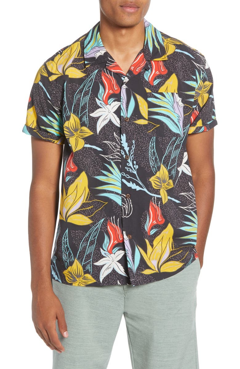HURLEY Domino Short Sleeve Button-Up Camp Shirt, Main, color, BLACK