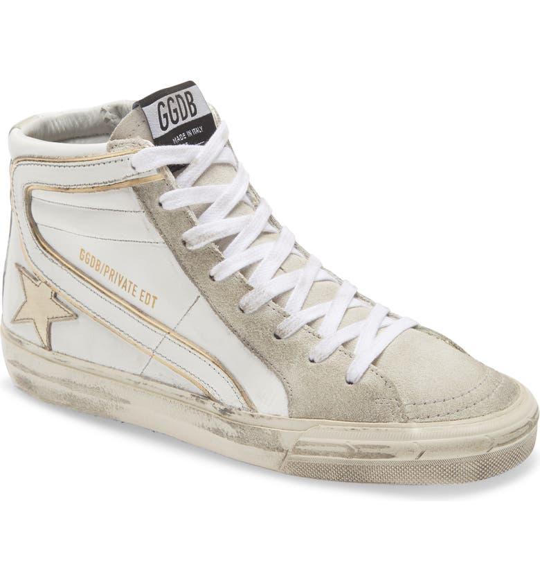 GOLDEN GOOSE Slide High Top Sneaker, Main, color, WHITE LEATHER/AVORY STAR