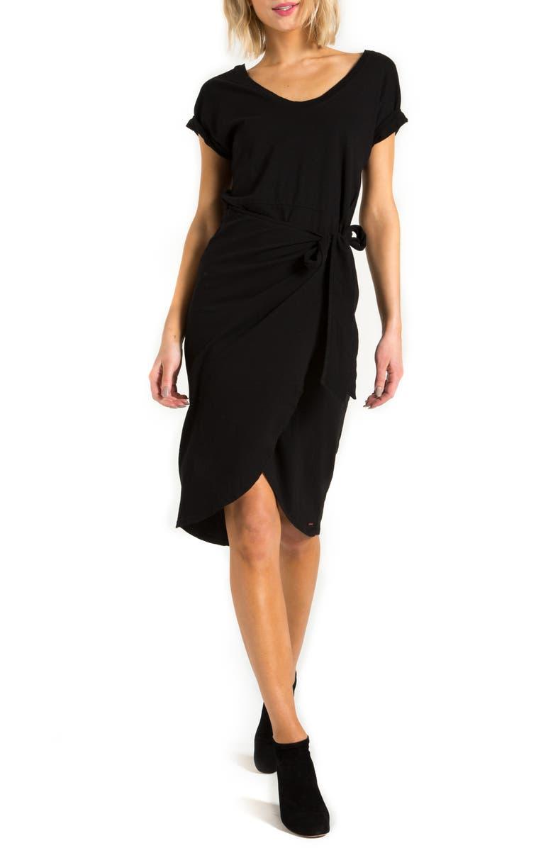N:PHILANTHROPY Pearson Wrap Front Dress, Main, color, BLACK CAT