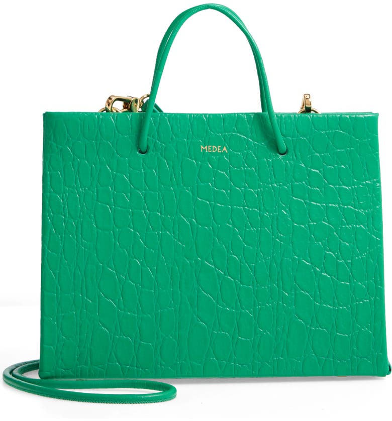 MEDEA Prima Hanna Croc Embossed Leather Bag, Main, color, GREEN