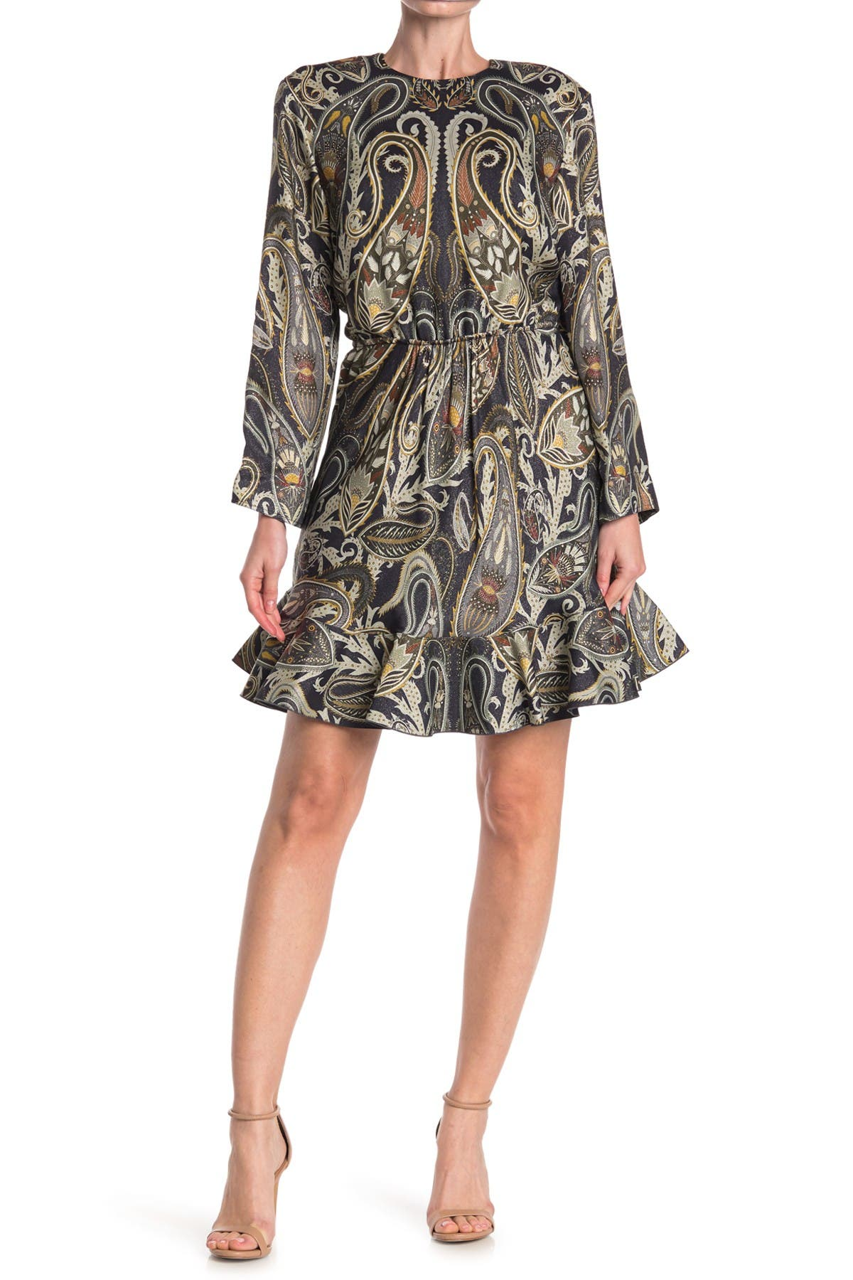 Image of Chloe Paisley Print Silk Blend Ruffle Hem Dress