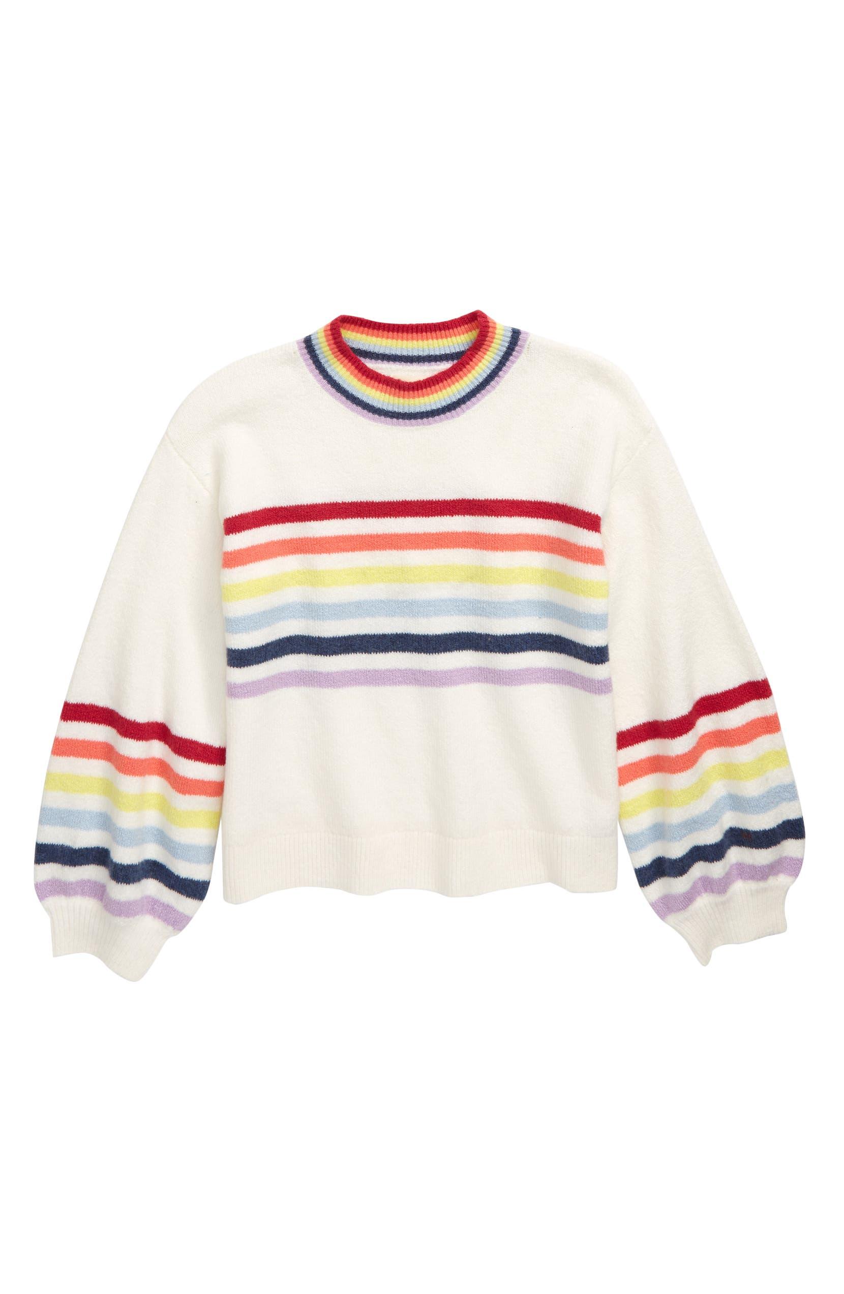 Tucker + Tate Over the Rainbow Stripe Sweater (Big Girls) | Nordstrom
