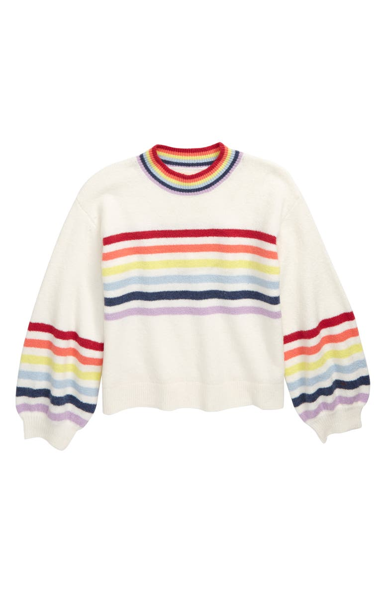 TUCKER + TATE Over the Rainbow Stripe Sweater, Main, color, IVORY EGRET RAINBOW