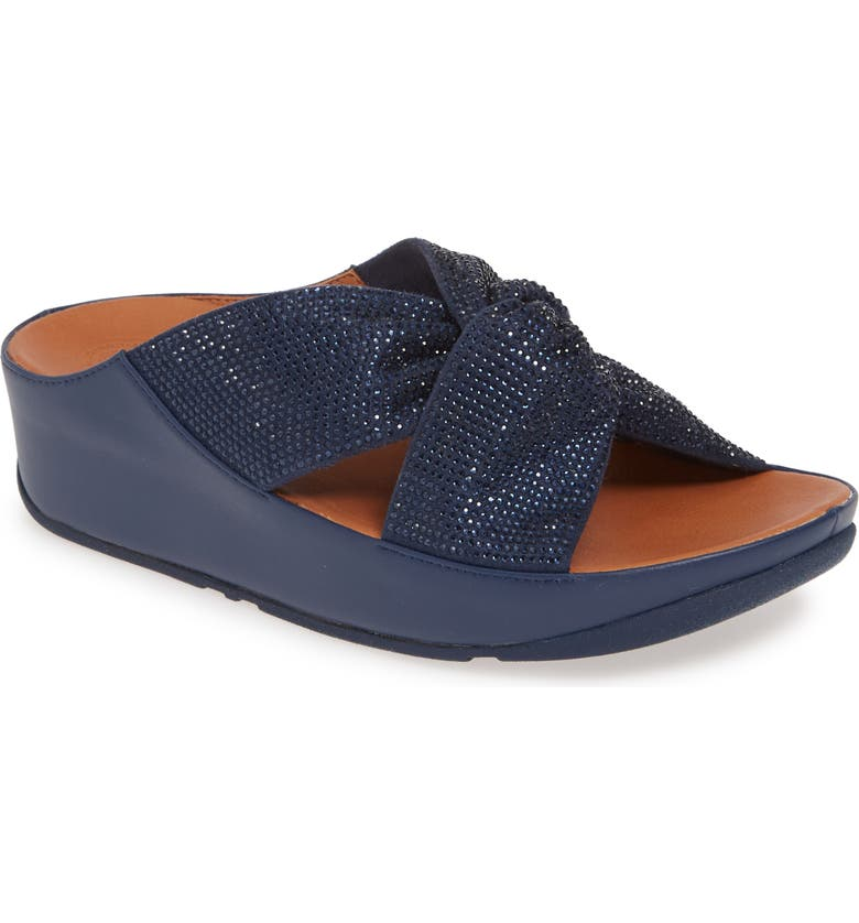 FITFLOP Twiss Crystal Embellished Slide Sandal, Main, color, MIDNIGHT NAVY FABRIC