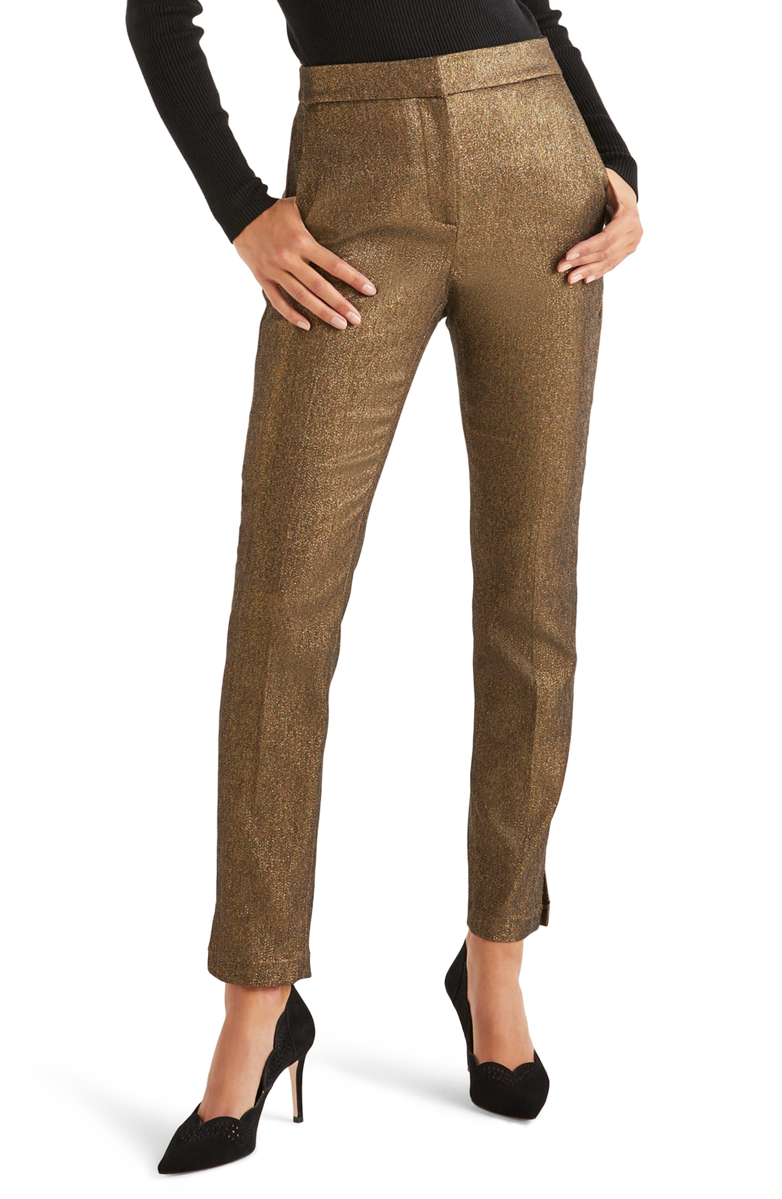 Boden Metallic Ankle Pants