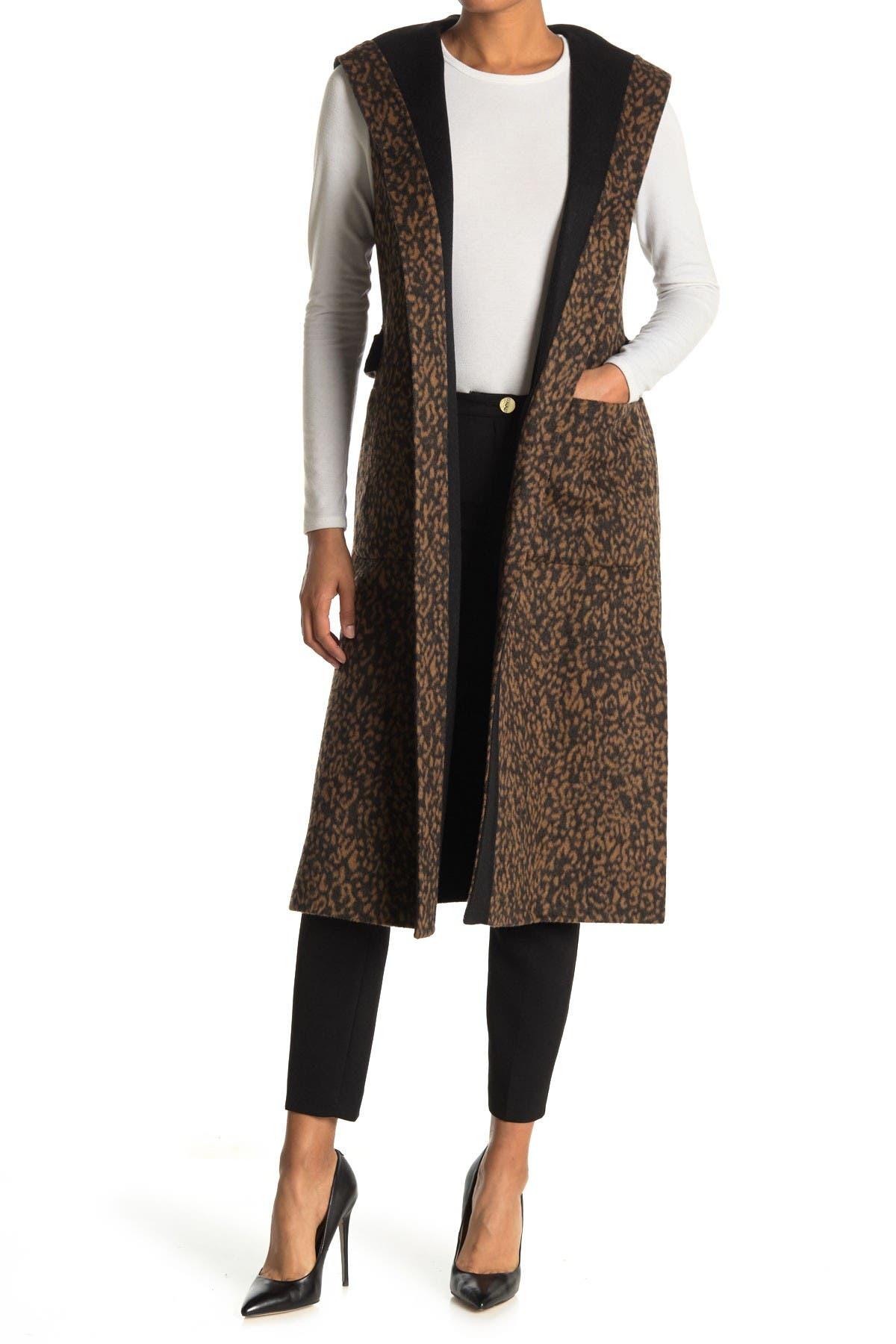 Image of BCBGMAXAZRIA Wool Blend Reversible Hooded Vest