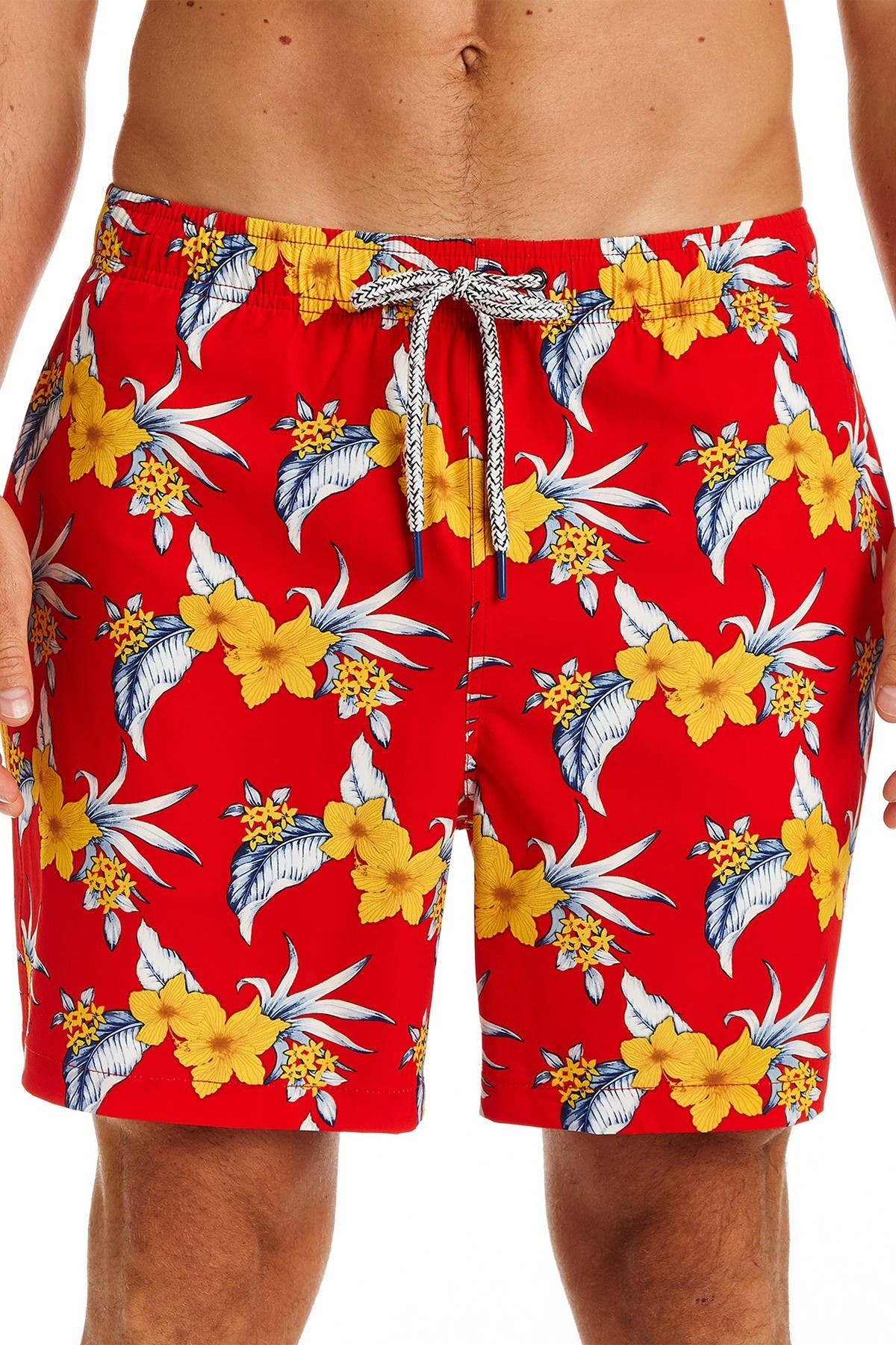 Image of Rainforest Tropical Orchid Swim Trunks