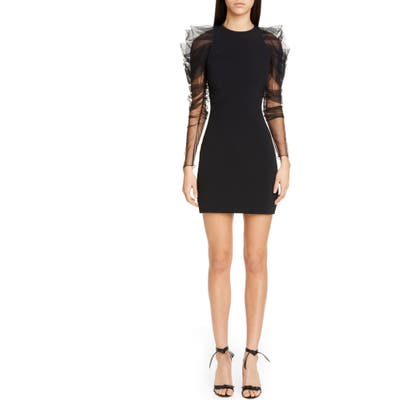 Cushnie Tulle Long Sleeve Minidress, Black