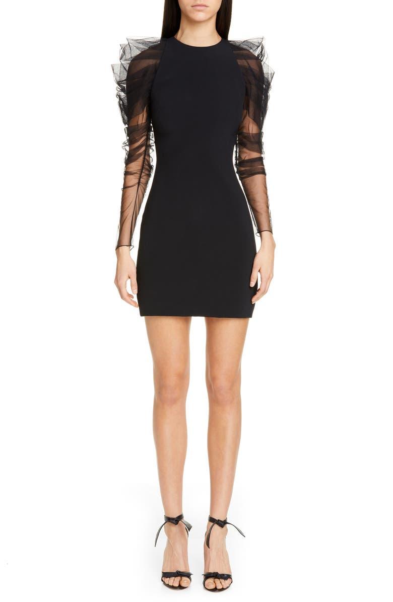 CUSHNIE Tulle Long Sleeve Minidress, Main, color, BLACK