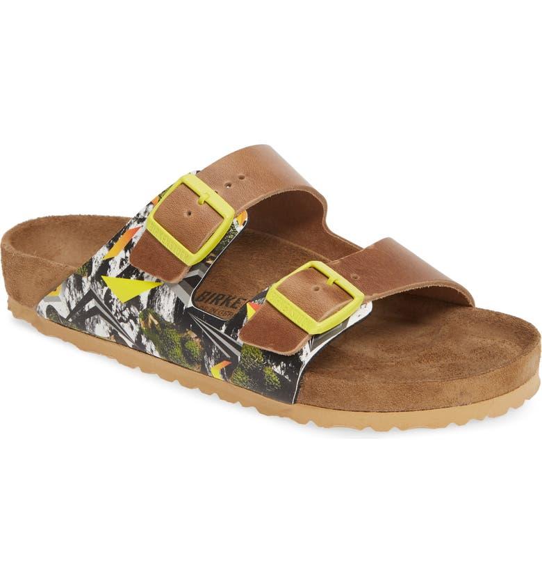 BIRKENSTOCK Arizona Camo Evolution Slide Sandal, Main, color, CAMO/ YELLOW/ NATURAL
